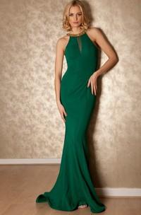 Sleeveless Jersey Sheath Dress With Beaded neckline