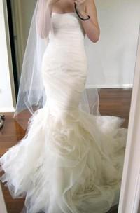 Strapless Tulle  Sleeveless Wedding Dress