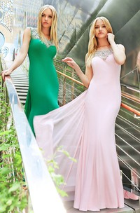 Scoop-neck Beaded Sleeveless Jersey Prom Dress With Illusion