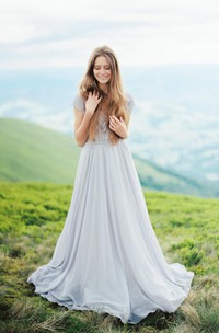 Chiffon Floral Pleats Short-Sleeve Vintage Dress