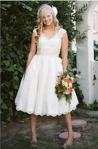 V-neck Lace Cap Short Sleeve Wedding Gown