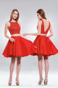 2-Piece Deep-V-Back Satin Jeweled A-Line Short Scoop-Neck Mini Sleeveless Dress