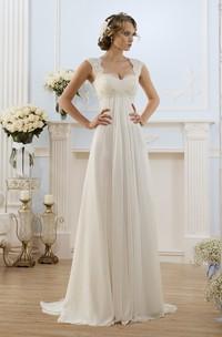 Cap-Sleeve Lace Chiffon Long A-Line Keyhole Gown
