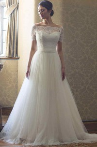 Bateau Short Sleeve Tulle A-line Gown With Lace And Sweep Train