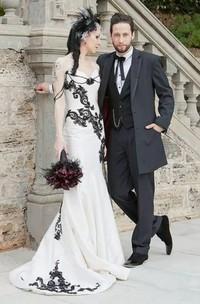 Off-the-shoulder Mermaid Sleeveless Satin Floor-length Sweep Train Wedding Dress with