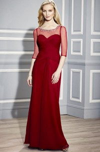 Jersey Long-Sleeve Scoop-Neckline Mother Of The Bride