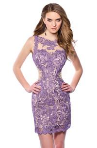 Bateau Sleeveless Lace Pencil Dress With Illusion And Keyhole