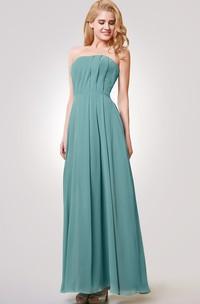 Strapless A-line Long Pleated Chiffon Dress