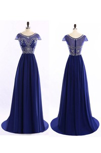 Cap-Sleeve Illusion Scoop-Neck A-Line Chiffon Dress