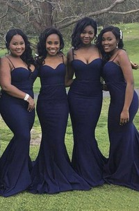 Spaghetti Straps Sexy Mermaid Sweetheart Bridesmaid Dress With Open Back And Ruching