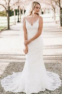 Romantic Sleeveless V-neck Lace Sheath Floor-length Mermaid Brush Train Wedding Dress