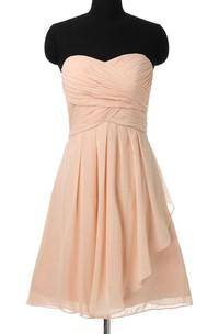 Sweetheart Criss cross Ruched Chiffon short Bridesmaid Dress