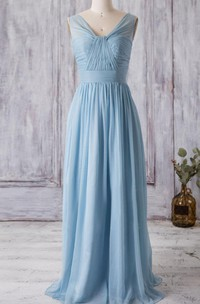 Chiffon Bandage A-Line V-Neckline Dress