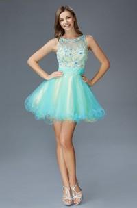 Multi-Color Illusion Tulle Ruffled Appliqued A-Line Short Scoop-Neck Mini Sleeveless Dress