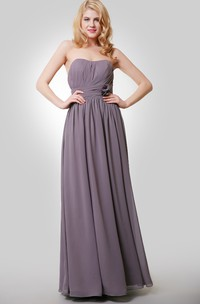 Floor-Length Floral Pleat A-Line Chiffon Dress