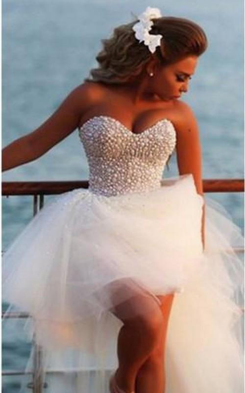 Tulle Rhinestoned Sweetheart Glamorous Gown