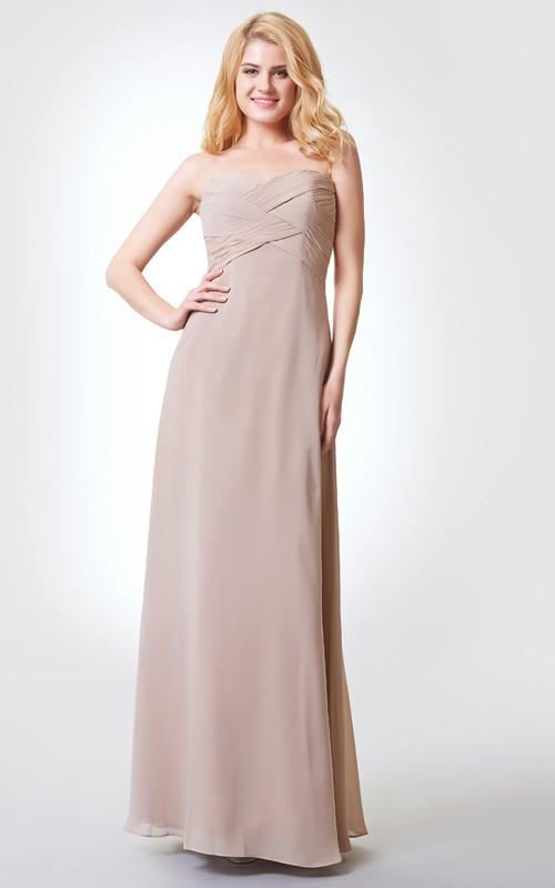 Floor-Length Bandage Flower A-Line Sweetheart Chiffon Dress