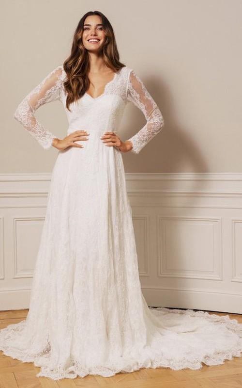 Vintage V-neck A Line Lace Court Train Deep-V Back Wedding Dress