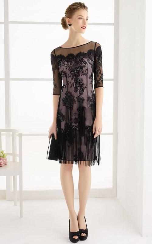 Bateau Illusion Half Sleeve Knee-length Dress With Lace Appliques