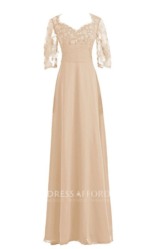 Full-Length Ruched Waist Lace-Sleeve Long Gown