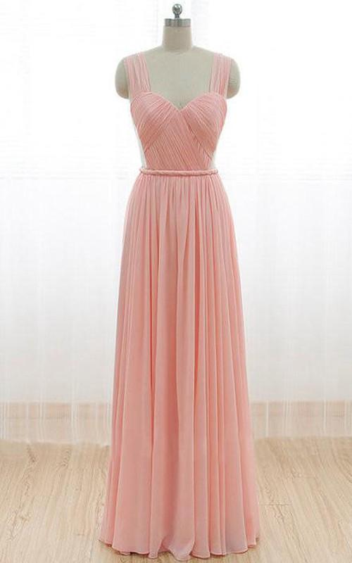 Floor-length Straps Pleats Chiffon Dress with V Back