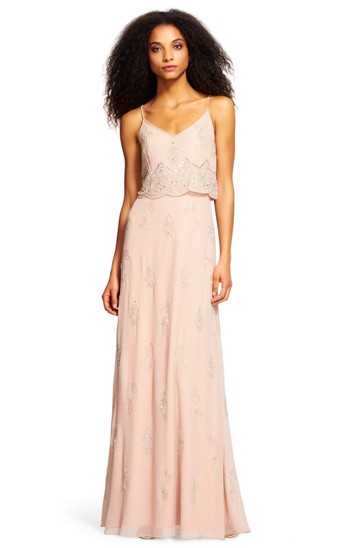 casual Spaghetti-strap Long Dress With Beading