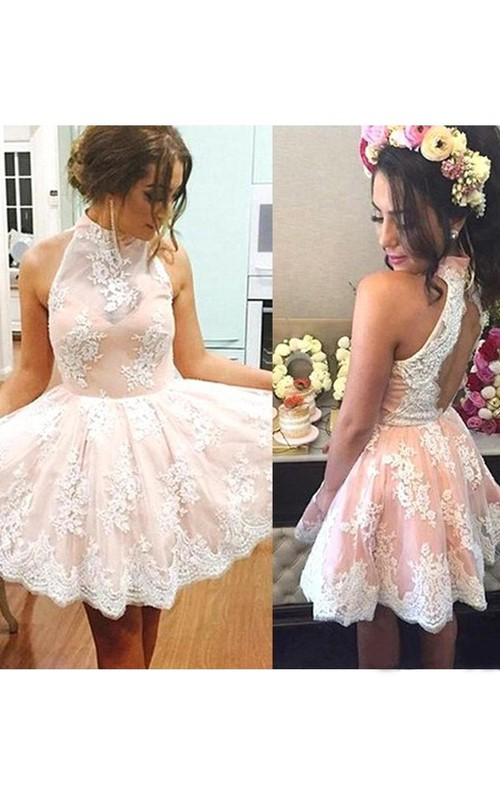 Sleeveless A-line Ball Gown Short Mini High Neck Pleats Ruching Lace Homecoming Dress