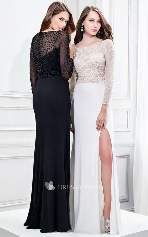 Bateau Illusion Long Sleeve Jersey prom Dress With Split Front And Beading