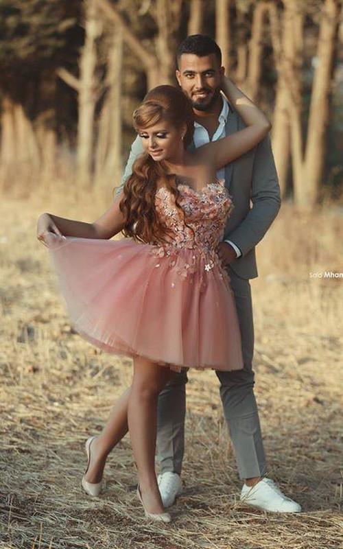 Short Floral Sweetheart Glamorous Dress