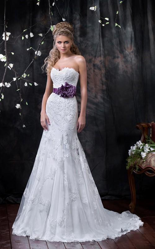 Sleeveless Appliqued Flower Floor-Length A-Line Lace Dress