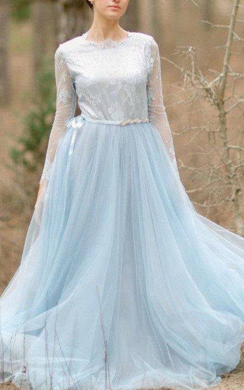 Jewel-Neck Illusion Long Sleeve Tulle long Dress With Lace And Sweep Train