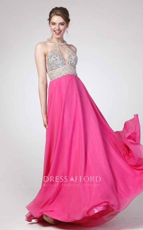 A-Line Jeweled Scoop-Neck Sleeveless Chiffon High-Waist Keyhole Dress