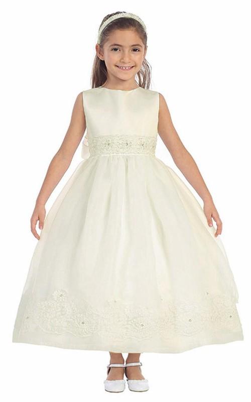 Lace Satin Sash Jeweled Ankle-Length Flower Girl Dress