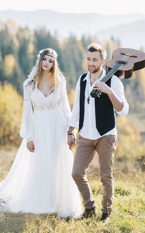 Bohemian Poet Long Sleeve Chiffon Plunging Wedding Dress With Lace Details And Front Split