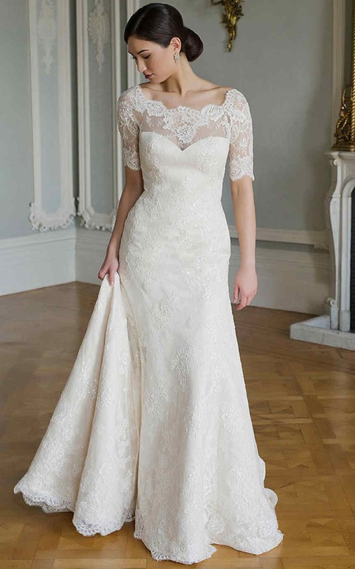 Bateau Short Sleeve Lace Dress With Illusion And Court Train