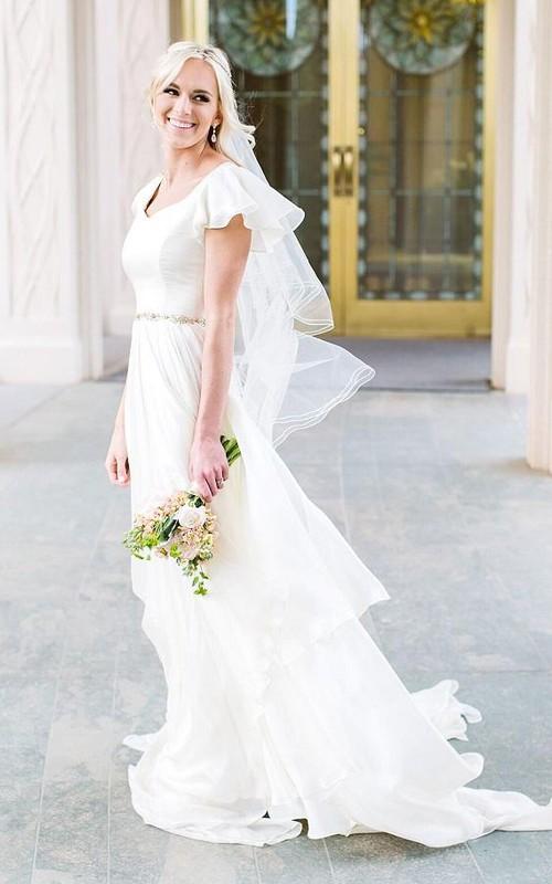 V-neck Chiffon Bat Short Sleeve Wedding Gown