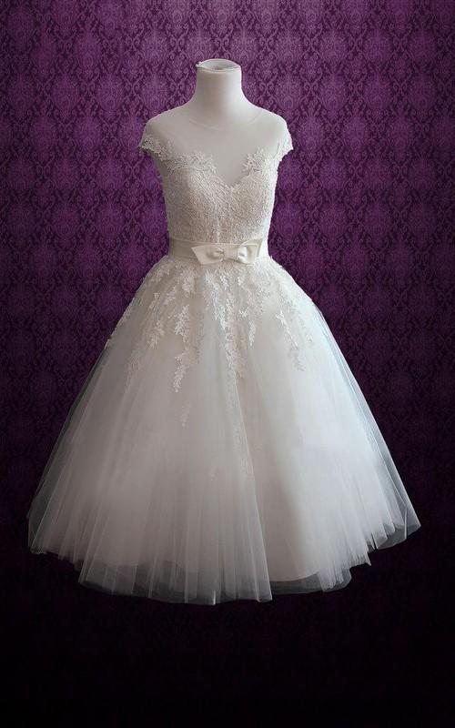 Short Satin Ribbon Appliques Lace-Bodice Jewel-Neckline Dress