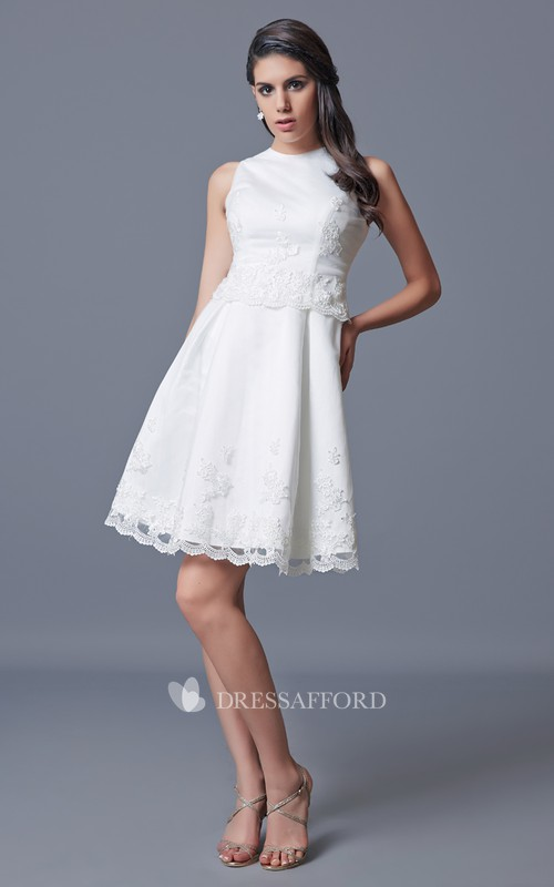 Satin Embroidery Short Jewel-Neck Gown