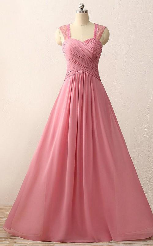 A-line Floor-length Sweetheart Chiffon Lace Dress