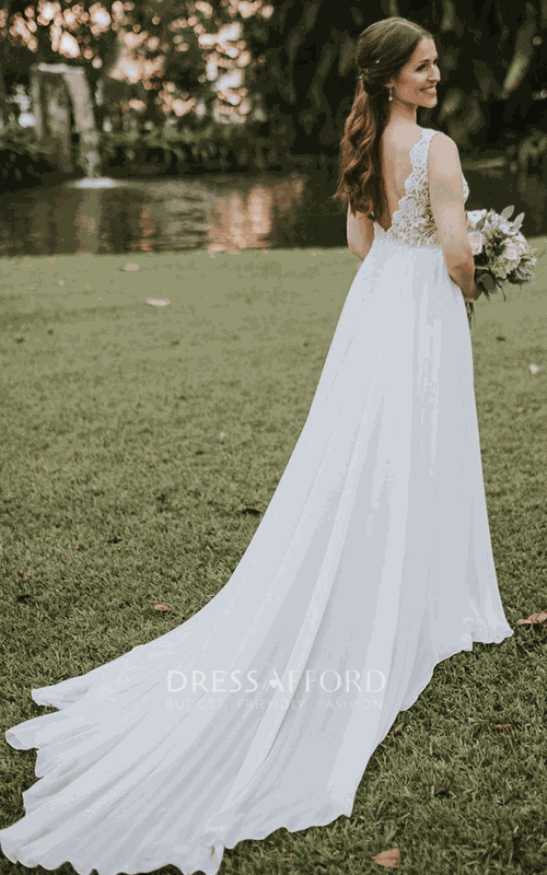 Elegant Sleeveless Chiffon and Lace V-neck A Line Floor-length Court Train Wedding Dress