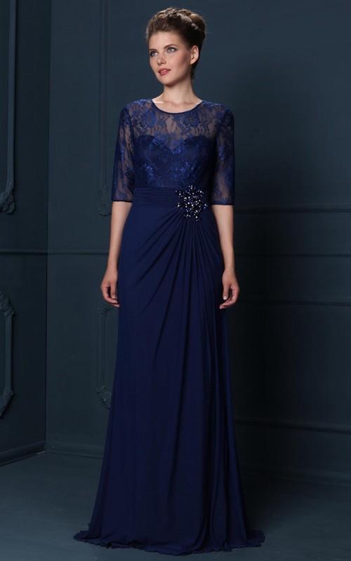 Jewel-Neck Lace Half Sleeve Chiffon Dress With Draping