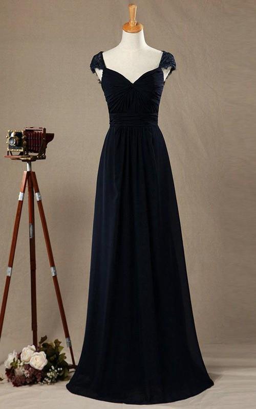 2018 Cap Sleeve Lace Bridesmaid Dress