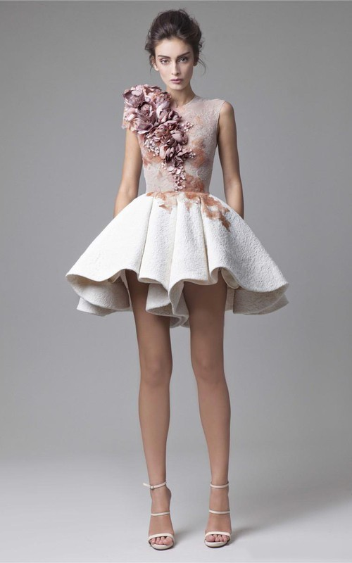 A-Line Short Sleeveless Jewel Lace Prom Dress With Handmade Flowers