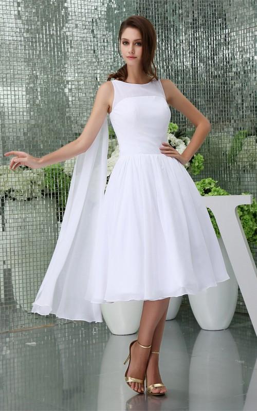 A-Line Pleated Chiffon Sleeveless 3-4-Length Dress