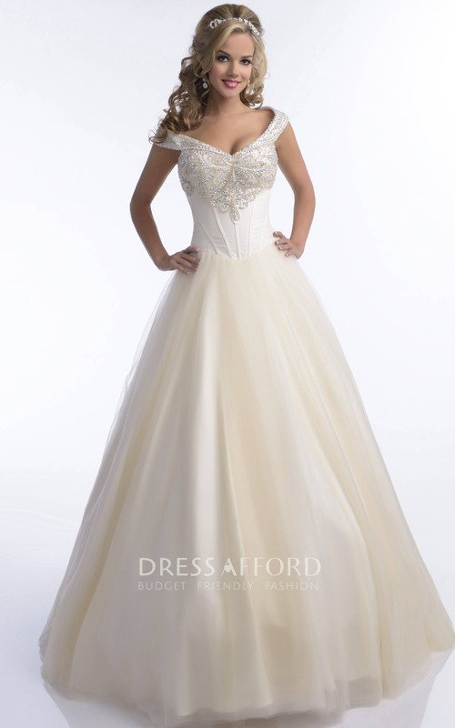 V-Neck Jeweled Bust A-Line Tulle Quinceanera Long Dress