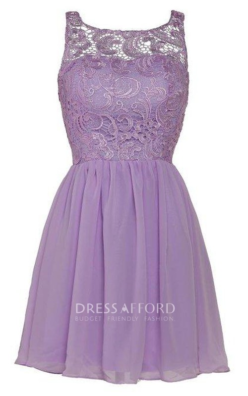 Chiffon Lace Illusion Lovely Cocktail Gown