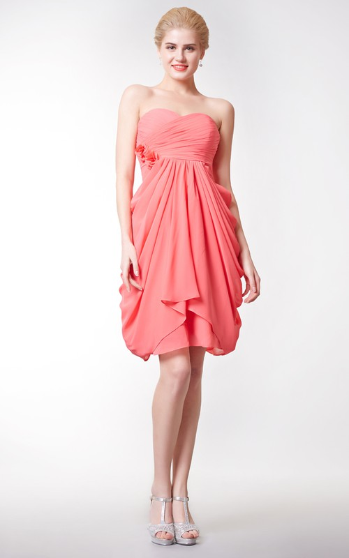 Sweetheart Criss-cross short Chiffon Bridesmaid Dress With Pick Up And Flower