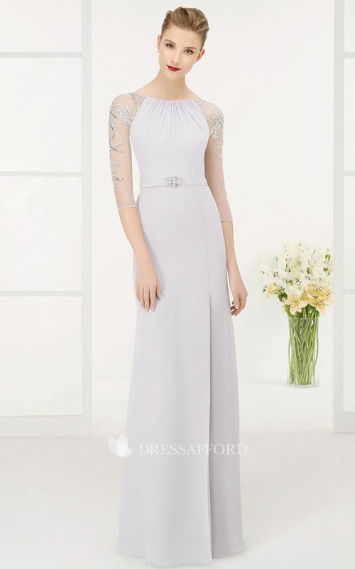 Bateau Half Sleeve Illusion Sheath Jersey Dress With Beading