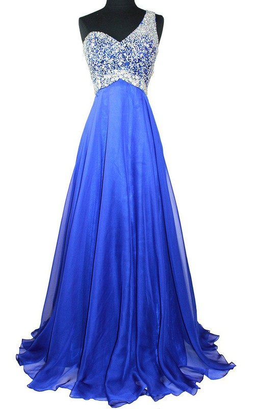 One-shoulder Sleeveless Pleated Prom Dress With Beading