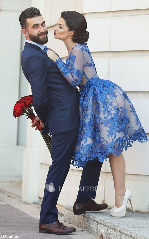 Blue Long Sleeve Prom Royal Delicate Appliqued Dress